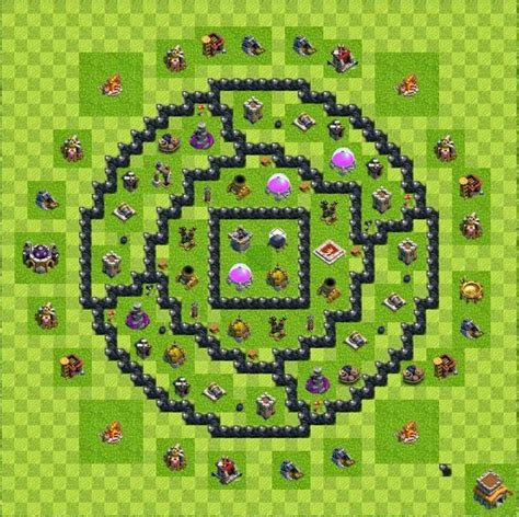 layout coc th 8 keren base layout town hall level 8 tipe farming coc indonesia