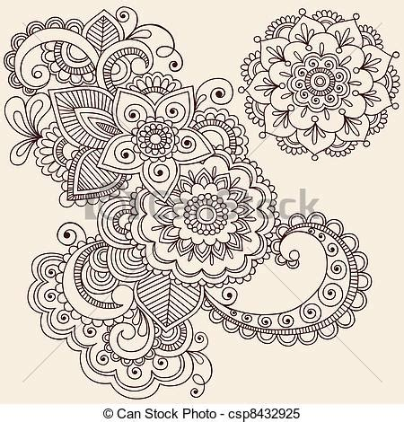 mehndi pattern drawing henna tattoo clipart