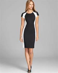 s color block dresses dkny color block cap sleeve sheath dress in white black