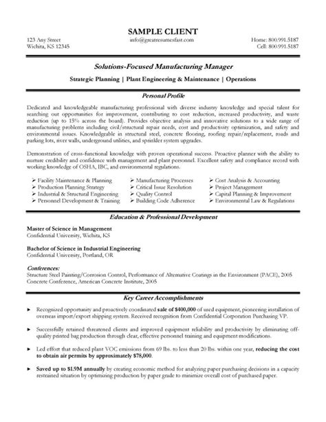 Resume Sles For Experienced Managers Manufacturing Resume