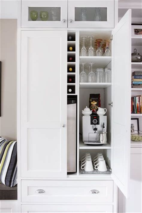 built in coffee bar pantry cabinet with coffee and wine bar built inside