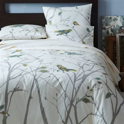 Organic Sparrow Song Duvet Cover   Contemporary   Duvet