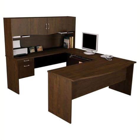 bowery hill u shaped wood home office set in chocolate