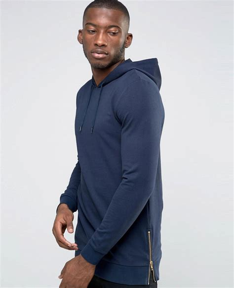 Hoodie Pullover Instaling Muscles Pcs navy blue pullover fit hoodie with gold side zips