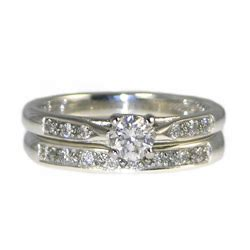 vintage styled platinum and engagement and wedding