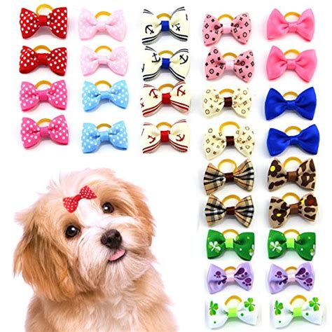 what do you need for a puppy mewtogo 30 pcs 15 pairs pet hair bows with rubber bands hair accessories with