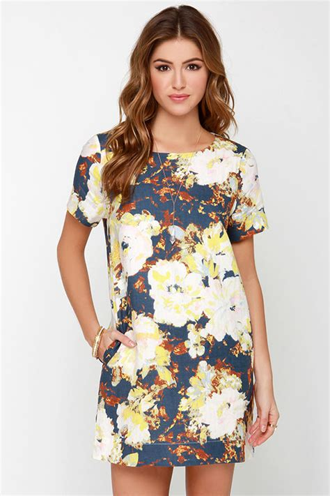 17684 blue floral overall dress lovely navy blue dress floral print dress shift dress
