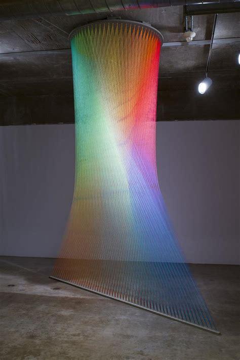 gabriel dawe rainbow thread installations feather