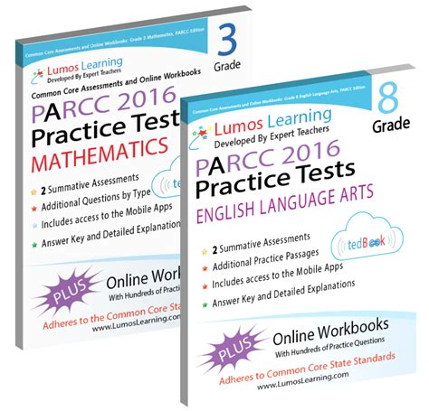 parcc test prep grade 8 language arts literacy ela practice workbook and length assessments parcc study guide books parcc sles assessment practice resources lumos learning