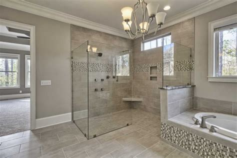 Master Bathroom Tile Ideas Photos Gray Mosaic Marble Wall Bath Panels Master Bathroom Shower Designs High Arc Bronze Nickel Two