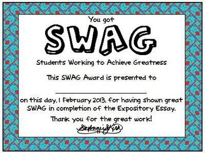 Student Swag Awards Printable Student Award Template