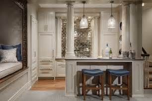 Mirror backsplash home bar traditional with mirror subway tile