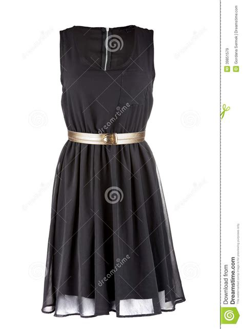 black dress with golden belt stock photo image