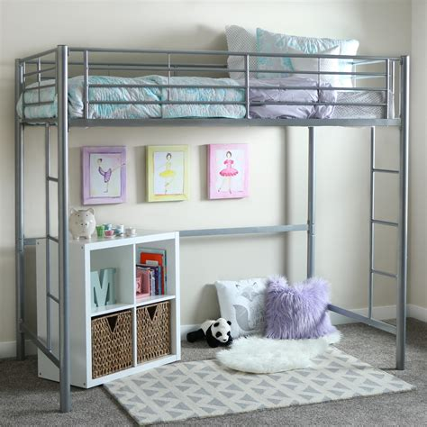 loft bed amazon amazon com we furniture twin metal loft bed silver kitchen