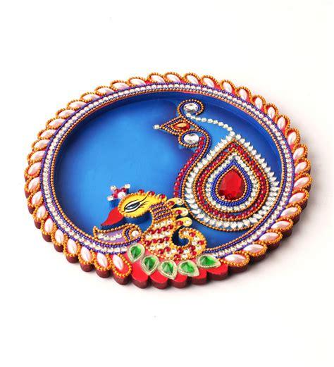 decorative aarti thali online buy hari creation multicolor wooden peacock aarti thali