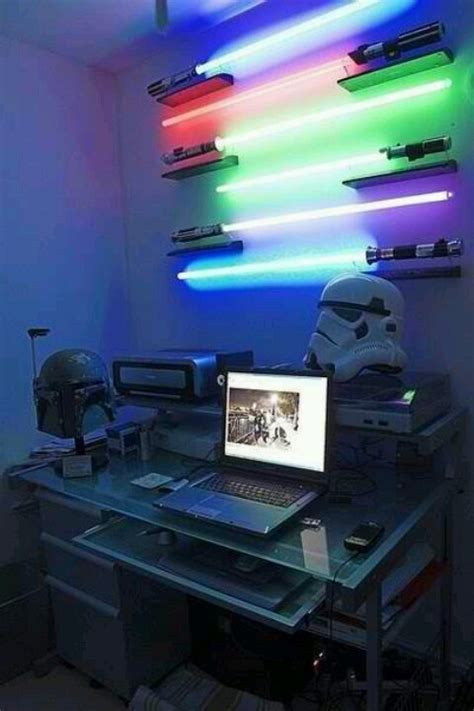 lightsaber bedroom light star wars computer room funny pictures pinterest