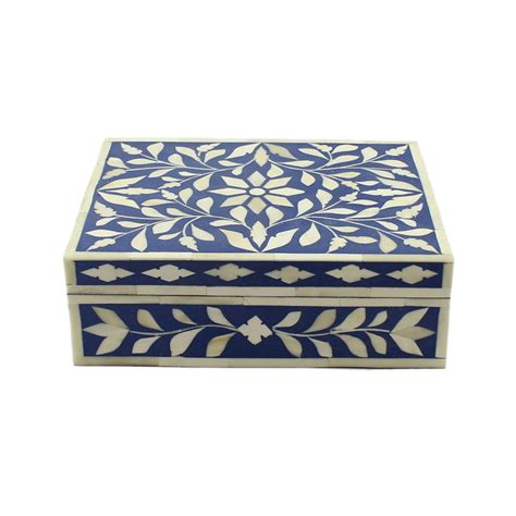 Decorative Inlays by Navy Blue Bone Inlay Decorative Box Roomattic