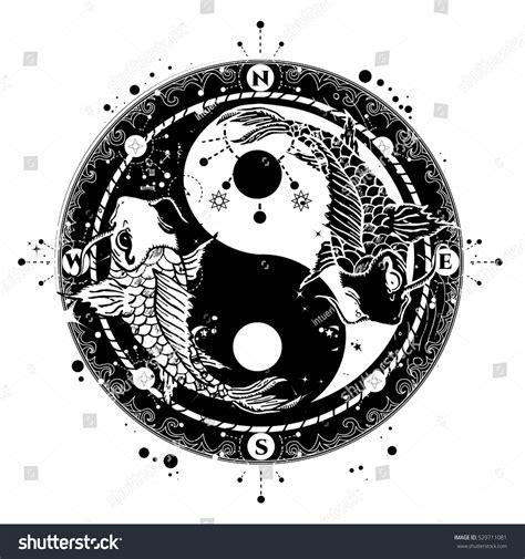 yin  tattoo art vector  stock vector