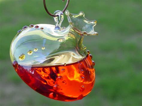handblown glass humming bird feeder hummingbird feeder