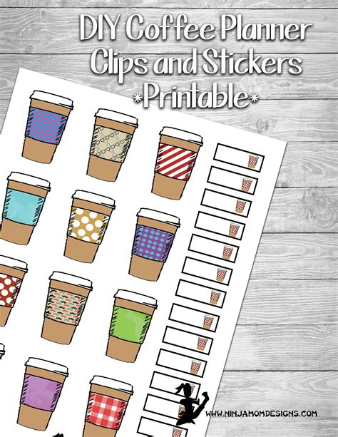 coffee planner stickers printable free printable coffee cup planner stickers at