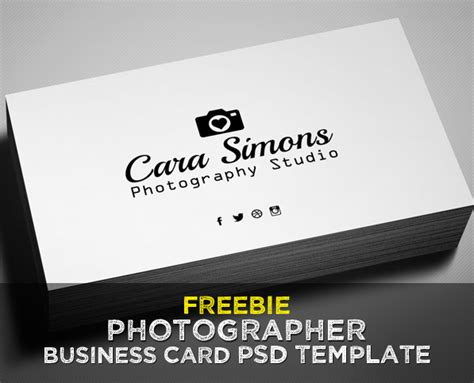 freebie photographer business card psd template
