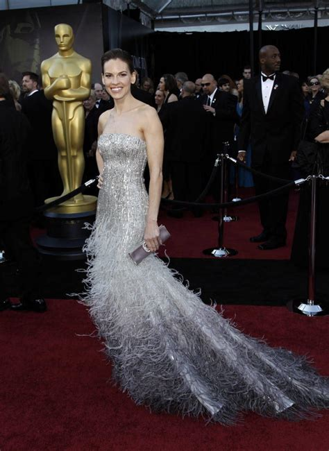 Catwalk To Carpet Hilary Swank In Lhuillier by Oscar Carpet Hits And Misses Photo Gallery