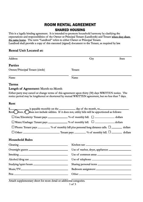 california lease agreement template free santa county california room rental agreement