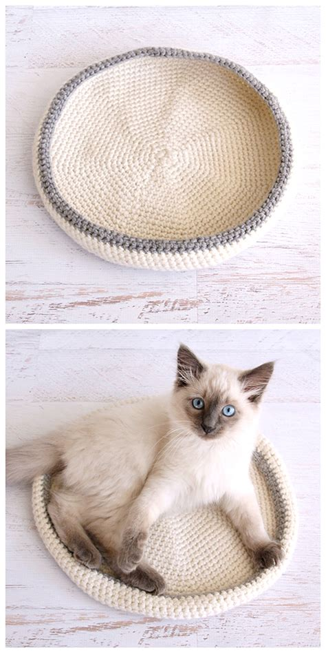 crochet cat bed crocheted cat bed dabbles babbles