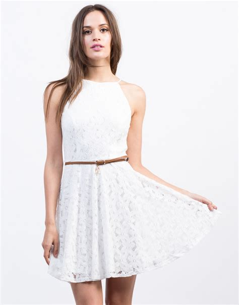 belted flared lace dress dress white