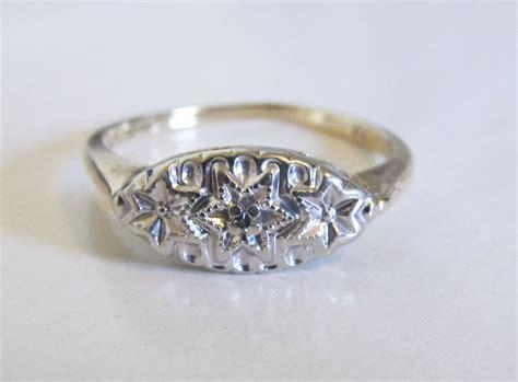 antique princess engagement ring 10k yellow white