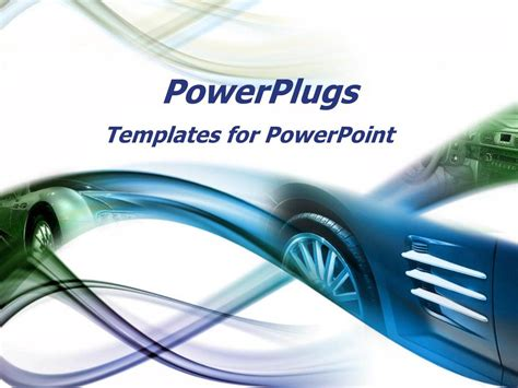 powerpoint template abstract image of sports car in blue