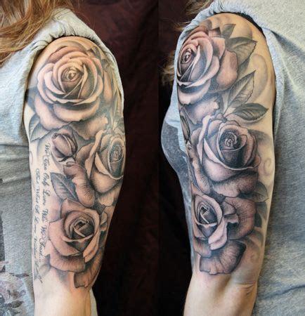 quarter sleeve rose tattoo best 25 rose sleeve tattoos ideas on pinterest rose