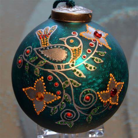 hand painted glass christmas ornament silver by pritiornaments