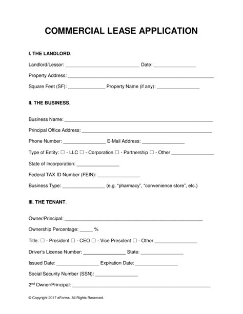 commercial lease application template free commercial lease application template pdf word
