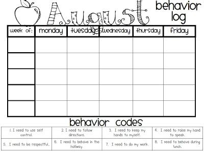monthly behavior log ms niedringhaus 4th grade