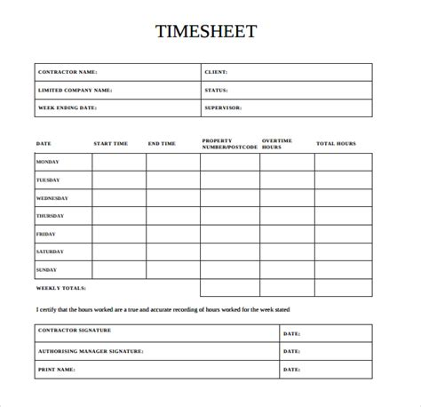Time Card Template Docs