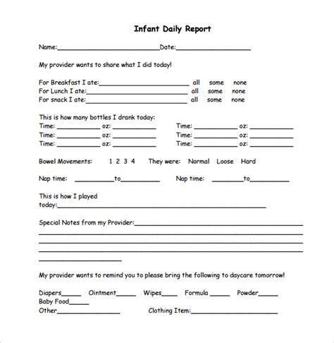 daycare infant daily report template daily report template 12 free sles exles format
