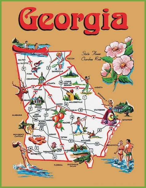 map of georgia cities cities in georgia usa pictorial travel map of georgia