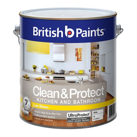 what sheen for bathroom paint british paints 4l white low sheen clean protect kitchen and bathroom paint