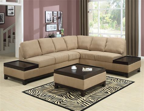 wooden sectional sofa mocha padded suede modern sectional sofa w dark wood trim