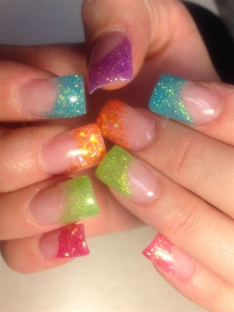 Gel Nails With Tips by Rainbow Multicolor Gel Tip Nails Nails