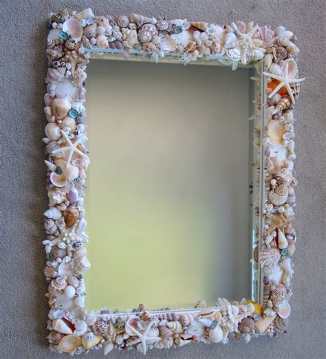 shell bathroom mirror custom mirrors beach grass cottage