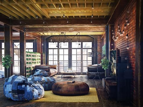 loft living room design  modern industrial style