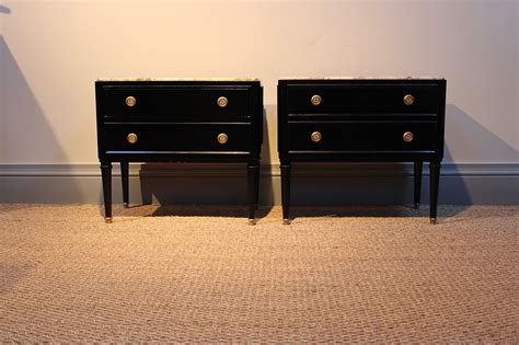marble top bedside table pair of 1940s marble top ebonised bedside tables