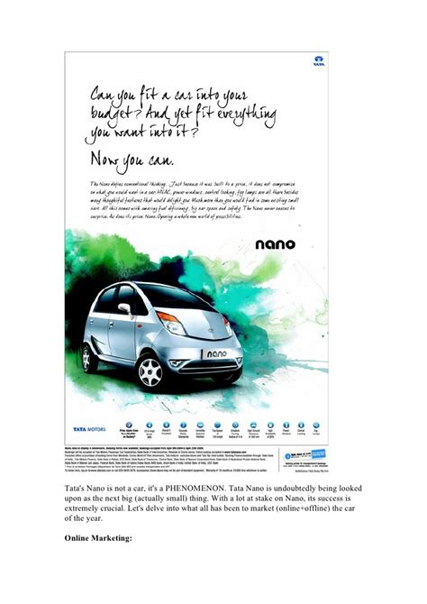 Study On Tata Nano Project Mba by Marketing Study Tata Nano