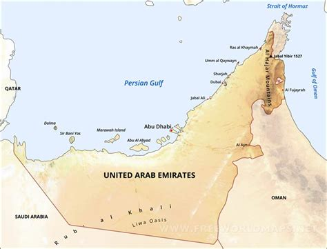 uae in world map united arab emirates physical map