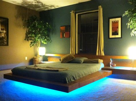 platform bed with lights underneath hand made asian contemporary wood platform beds