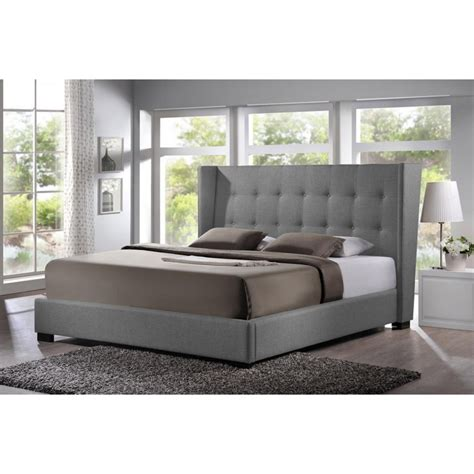 Grey Linen Upholstered Headboard by Favela Gray Linen Modern Bed With Upholstered Headboard Size See White