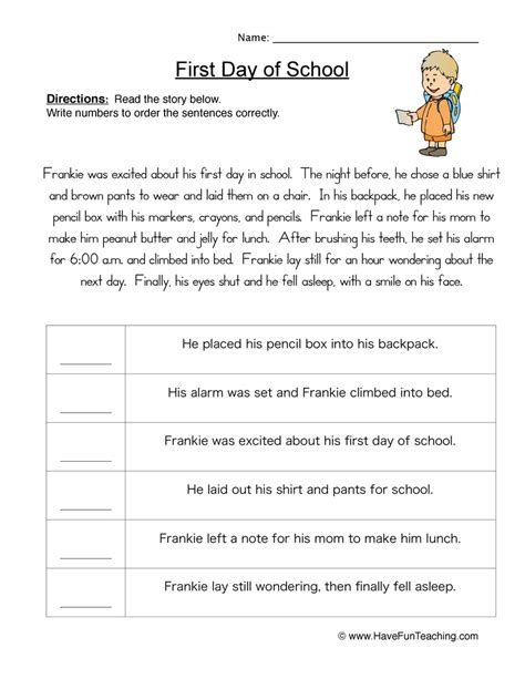 Chronological Order Worksheets 4th Grade by Sequencing Worksheets Teaching