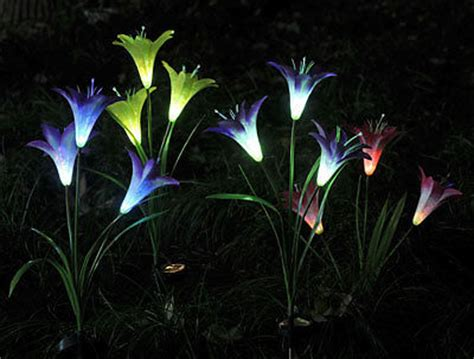 solar flower lights for garden solar 3 led flower garden light yard stake path